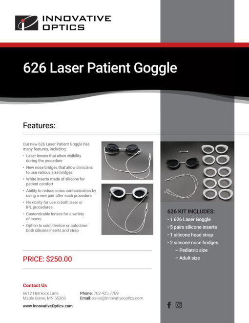 626 goggles specs sheet